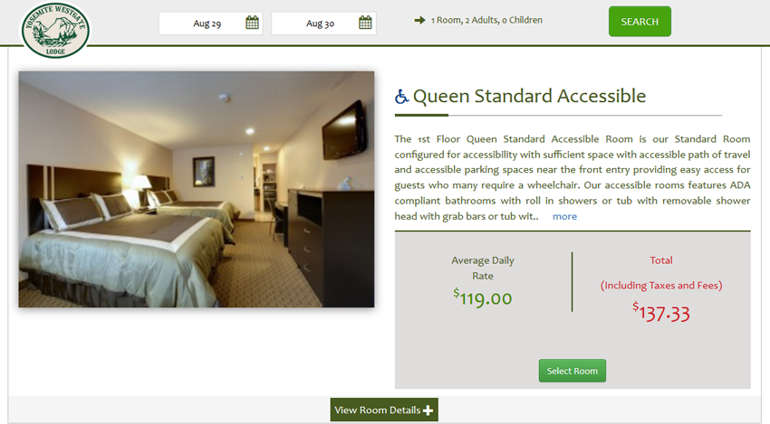 Accessible Hotel Room Booking Engine