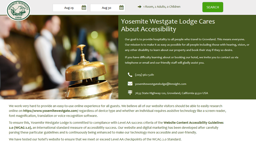 Designated Hotel ADA Accessibility Custom Page
